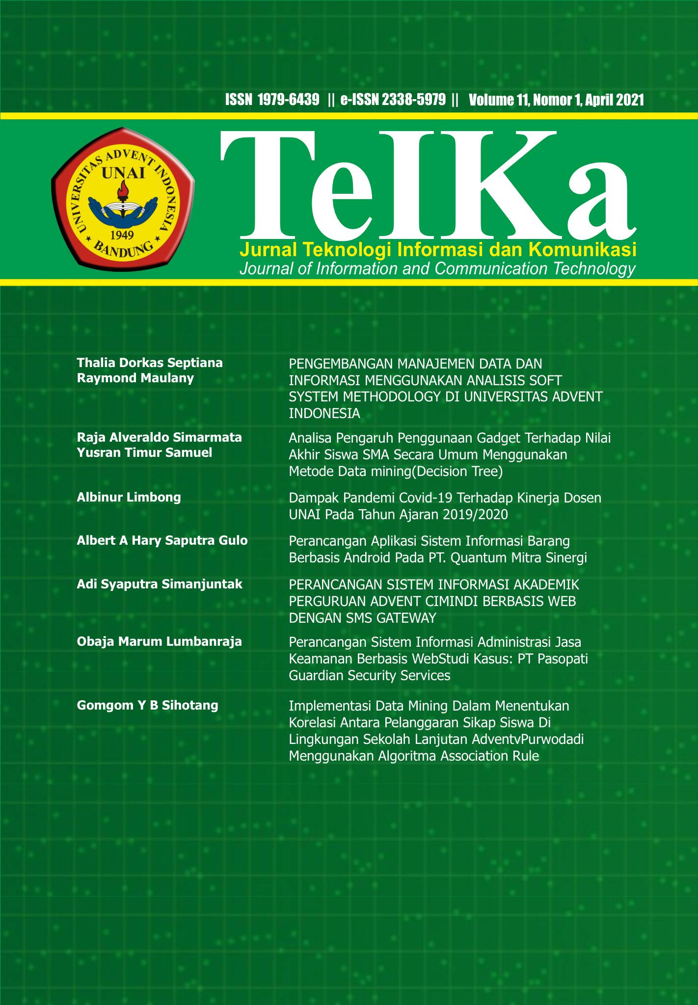 View Vol. 11 No. 1 (2021): TeIKa: April 2021