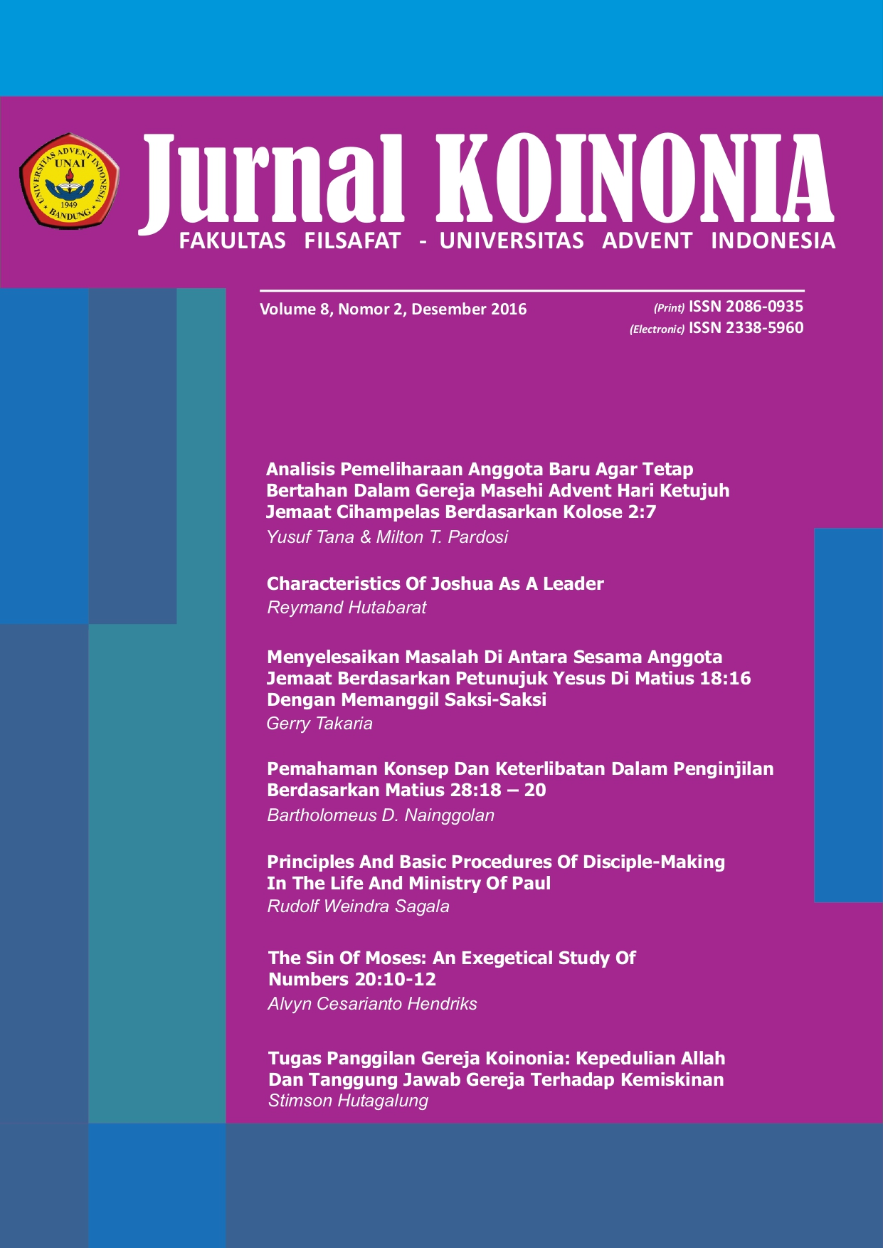 View Vol. 8 No. 2 (2016): Koinonia; Desember 2016