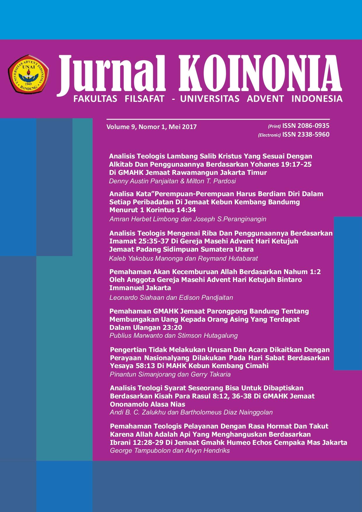 View Vol. 9 No. 1 (2017): Koinonia; Mei 2017