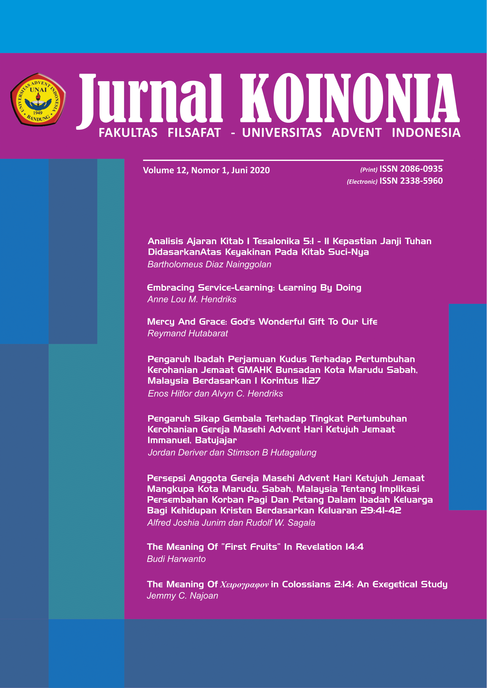 View Vol. 12 No. 1 (2020): KOINONIA: Juni 2020