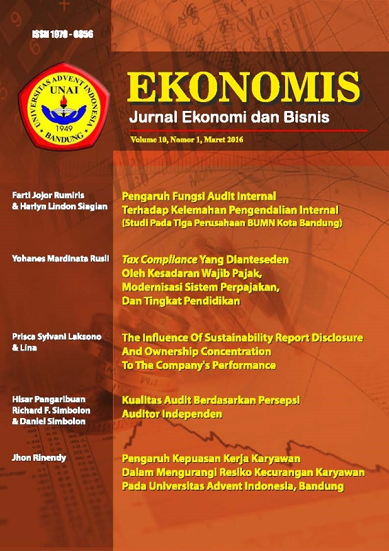 View Vol. 10 No. 1 (2016): EKONOMIS : Maret 2016