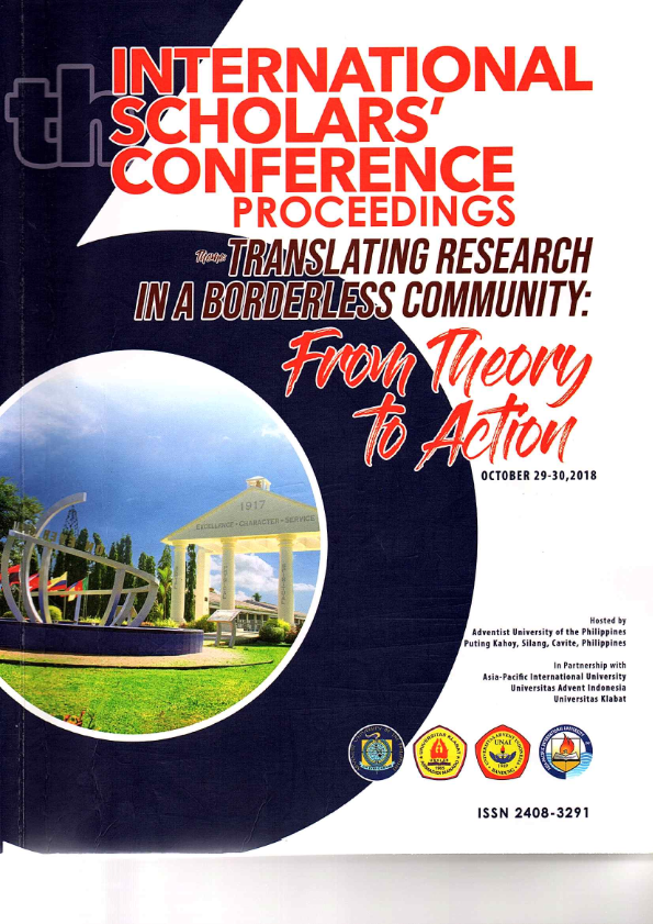 View Vol. 6 No. 1 (2018): Abstract Proceedings International Scholars Conference